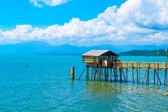 Bamboo pier   Stock Photo