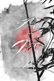Bamboo plant and butterfly. Asian Traditional Painting - Ink drawing of a bamboo plant Royalty Free Stock Photography