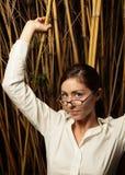 bamboo plants posing woman στοκ εικόνες