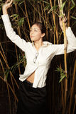 bamboo plants posing woman στοκ φωτογραφίες με δικαίωμα ελεύθερης χρήσης