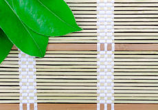Bamboo plate with leaves Stock Images