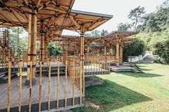 Bamboo playhouse built on a lake island in Kuala Lumpur`s botanical gardens, Malaysia royalty free stock photography