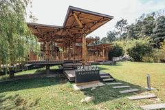 Bamboo playhouse built on a lake island in Kuala Lumpur`s botanical gardens, Malaysia Royalty Free Stock Photo