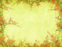 Bamboo and plum blossom on old antique paper Royalty Free Stock Images