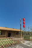A bamboo pole on the red lanterns Stock Photo