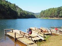 Bamboo port and rafts at Pang Oung, Lake in Mae Hong Son,Thailand Royalty Free Stock Photography
