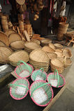 Bamboo products basket. Lot of Asian traditional hand crafted bamboo products stock photos