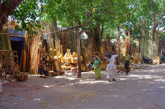 Bamboo products displayed for sale at market  in Jodhpur, Rajast Stock Image