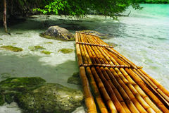 Bamboo raft. A bamboo raft in clear tropical waters Royalty Free Stock Images