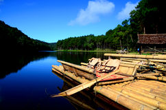 Bamboo raft. In national park of Thailand stock photography