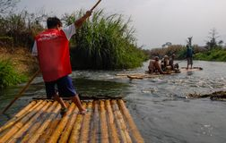 On a bamboo raft. Along a river in northern Thailand royalty free stock images