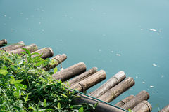 Bamboo raft background Stock Image