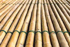 Bamboo raft. Background of bamboo raft with a rope tightly bonded beautifully Stock Photo