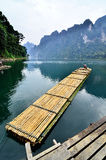 Bamboo raft. Banboo raft in the lake, Khao Sok national park,Thailand stock photography