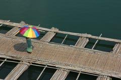Bamboo raft bridge. Of Sangkhlaburi, Thailand is a attracion. Tourists visit Royalty Free Stock Image