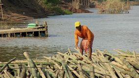 Bamboo raft, cane ,mekong, cambodia, southeast asia stock video footage