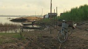 Bamboo raft, cane ,mekong, cambodia, southeast asia stock video