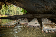 Bamboo raft in cave on maehongson province northern of thailand Stock Photo