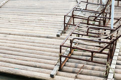 Bamboo rafts. Closeup of bamboo raft in river Stock Images