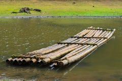 Bamboo raft on  the coast river, India Stock Photography