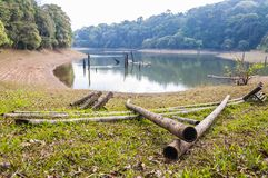 Bamboo raft elements on the beach in Periyar National Park. This amazing wildlife park is located in Kerala southern state of India. Sprawled over an area of stock photography