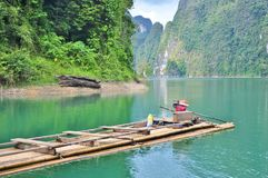 The bamboo raft floating on the Lake. Stock Photo