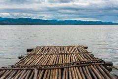 Bamboo raft floating in the lake of Srinakarin Royalty Free Stock Photo