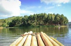 Bamboo raft go to the beautiful nature Stock Photo