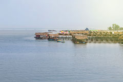 Bamboo raft hut floating restaurant in thailand Stock Image