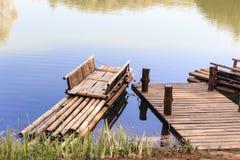 Bamboo raft in lagoon Royalty Free Stock Photography