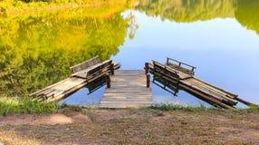 Bamboo raft in lagoon Stock Photo