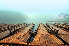 The bamboo raft lake royalty free stock images