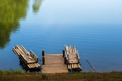 Bamboo raft float beside the bank. Bamboo raft on the lake floating beside the bank Stock Photography