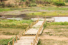 Bamboo raft in lake Stock Photo