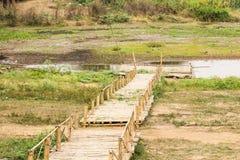 Bamboo raft in lake. River Stock Photo