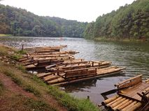 Bamboo raft at lakes of Pang-Ong. Stock Photos
