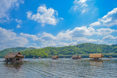Bamboo raft , Lakeside raft houses , Kanchanaburi , Thailand. Bamboo raft at the river in Kanchanaburi Thailand Royalty Free Stock Photography