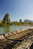 Bamboo raft with li river Royalty Free Stock Photography
