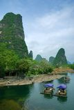 Bamboo raft at the Li river. Near Yangshuo, Guanxi province, China Stock Photo