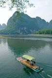 Bamboo raft on the Li river near Yangshuo Royalty Free Stock Photography