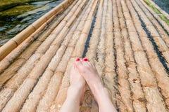 Bamboo raft. Located in Phang-Hga, Thailand Stock Image