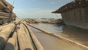Bamboo, raft , mekong, cambodia, southeast asia stock video