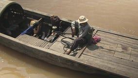 Bamboo, raft , mekong, cambodia, southeast asia stock video footage
