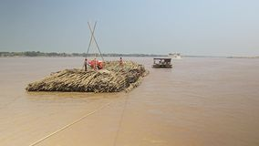 Bamboo, raft , mekong, cambodia, southeast asia stock footage