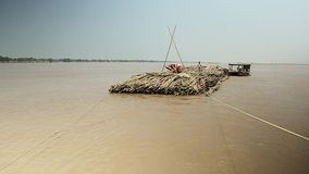 Bamboo, raft , mekong, cambodia, southeast asia stock footage