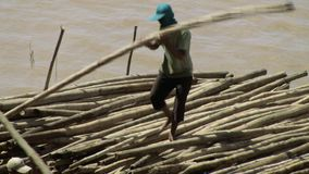 Bamboo, raft , mekong, cambodia, southeast asia Royalty Free Stock Photos