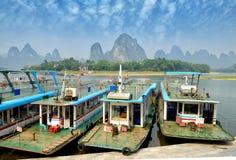 Bamboo raft near Yangshuo, Guanxi province, China Royalty Free Stock Photos
