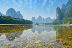 Bamboo raft near Yangshuo, Guanxi province, China Royalty Free Stock Photo