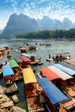 Bamboo raft near Yangshuo, Guanxi province, China Stock Images