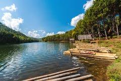 Bamboo Raft in Pang- oung Lake park ,Mae Hong Son  province,Thai Stock Photography